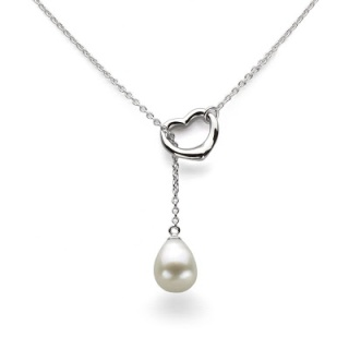 pearl necklace + pearl and heart silvertone necklace + Valentines Day jewelry on sale + fine jewelry gifts for her clearance + romantic necklace gift + designer deals on jewelry